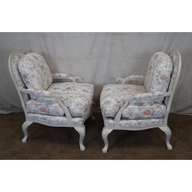 Large French Style Paint Frame Lounge Chair - Pair - Image 3 of 10