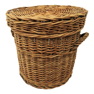 Antique Woven Wicker Basket For Sale