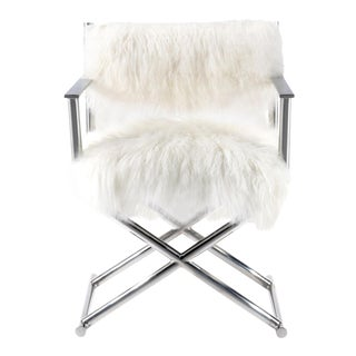 Mongolian Sheepskin & Polished Metal Director's Chair
