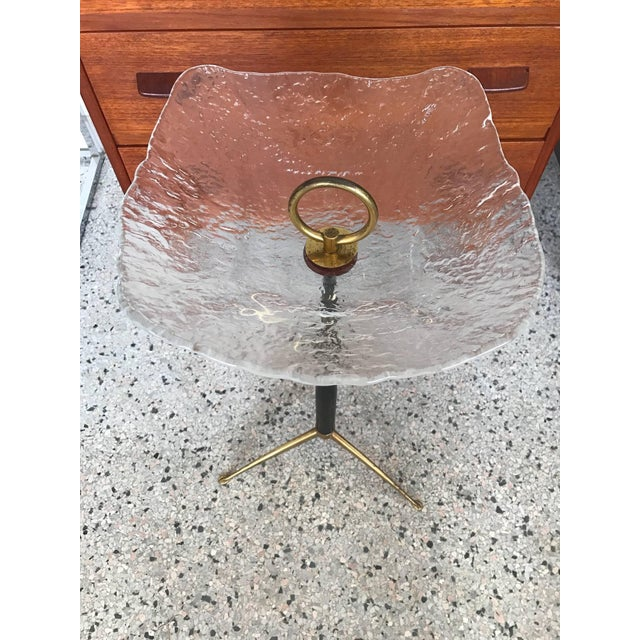 1960s Vintage Italian Moulded Glass Top Gueridon For Sale In Tampa - Image 6 of 12