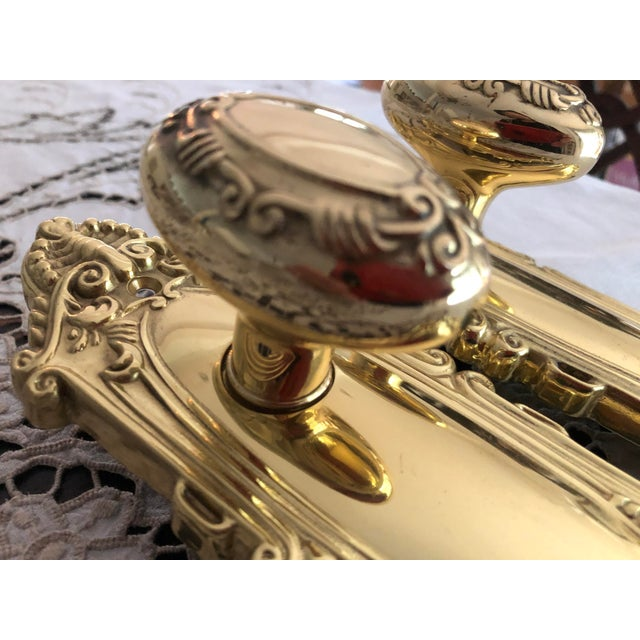 2000s Emtek Designer Side Plates Polished Brass Doorknob Set For Sale - Image 5 of 11