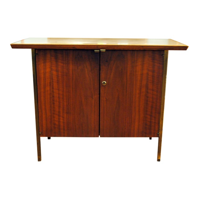 Small Mid-Century Walnut & Brass Bar - Image 1 of 8