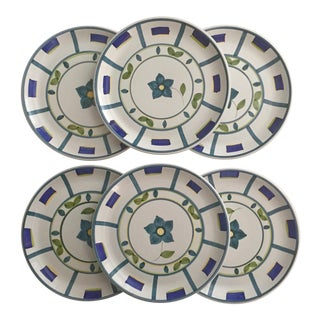 6 Italian Faience Hand-Painted Charger Plates For Sale