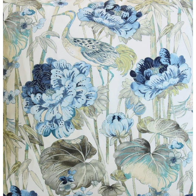 """Abstract Chinoiserie Crane & Floral Feather/Down Pillow 24"""" Square For Sale - Image 3 of 6"""