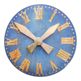 Large 19th Century French Clocktower Dial Blue With Gold Leaf Roman Numerals For Sale