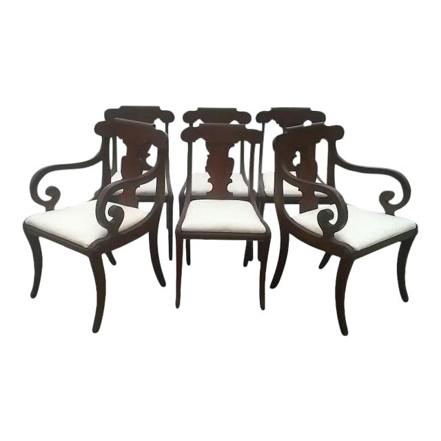 Regency Dining Chairs With Scrolled Arm - Set of 6 For Sale