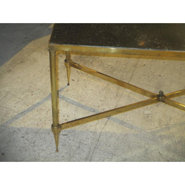 Mid 20th Century Bagues Brass Coffee Table With Marble Top For Sale - Image 5 of 7
