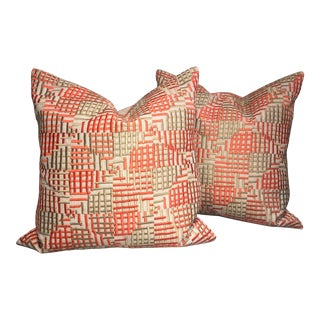 Orange Geometric Pillows - a Pair from Kenneth Ludwig Chicago For Sale