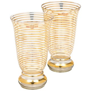 French Art Deco Gilt Stripe Crystal Vases - A Pair For Sale