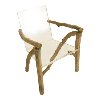 Lucite & Driftwood Ghost Bones Chair For Sale