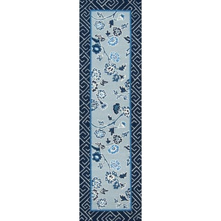 "Madcap Cottage Under a Loggia Blossom Dearie Blue Indoor/Outdoor Area Rug 2'3"" X 8' Runner For Sale"