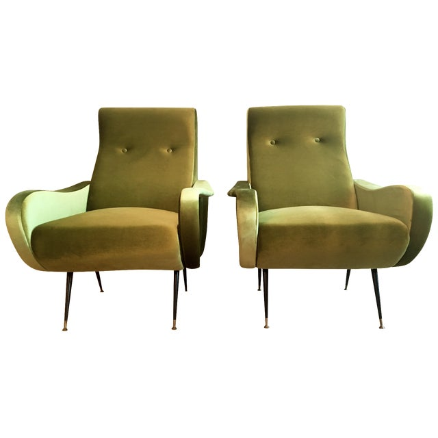 Marco Zanuso-Style Citrine Club Chairs - A Pair - Image 1 of 5