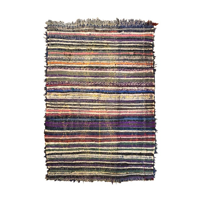 Islamic 1960s Moroccan Blue Diamond Patterned Rug With Multi-Color Stripe Reverse For Sale - Image 3 of 5