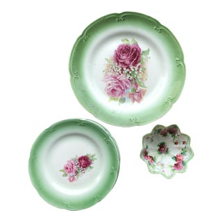 Vernon Hand Painted Floral Plate Set - 8 Pieces For Sale