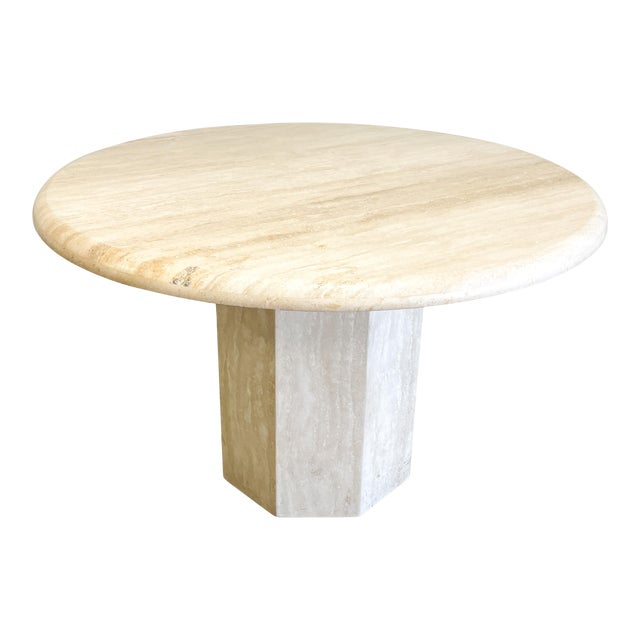 Vintage Postmodern Travertine Marble Round Dining Table For Sale