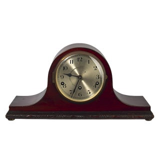 Mid-20th Century Tambour Style Wood Mantel Clock For Sale