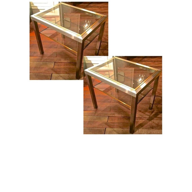 Guy Lefevre Pair of Pure Two Tiers Side Table in Brushed Steel and Bronze For Sale - Image 6 of 6