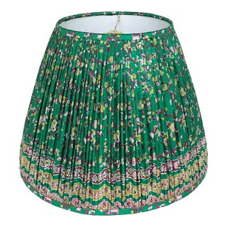 Emerald Green Gathered Silk Lamp Shade, Made With a Vintage Sari For Sale