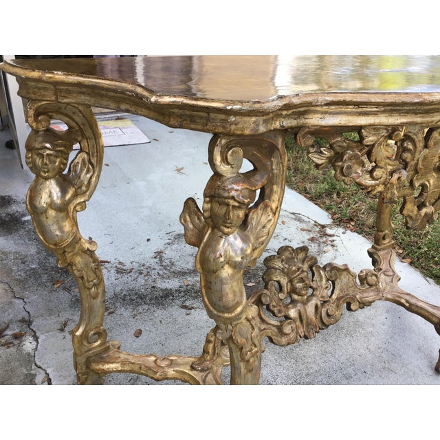 18th Century Itlian Baroque Silver Gilt Console Table For Sale In Tampa - Image 6 of 10