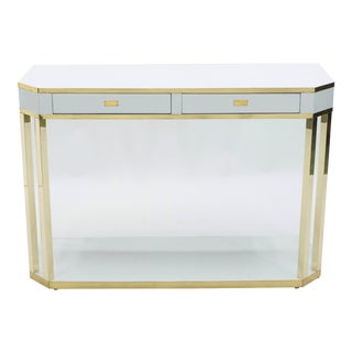 1970s J.C. Mahey White Lacquer and Brass Console For Sale