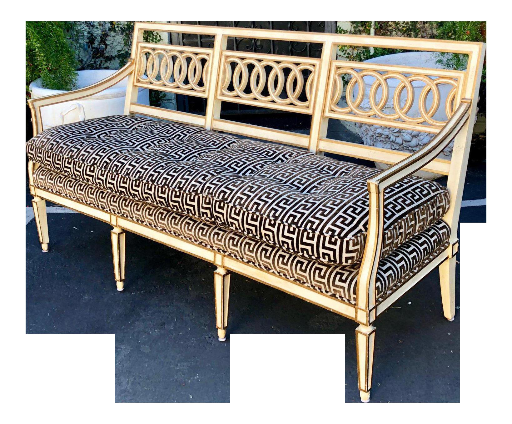 Spectacular Hollywood Regency Style Sofa Settee W Greek Key Cut Velvet