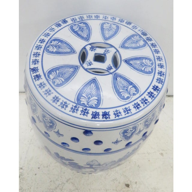 Asian Chinese Floral Blue & White Gargen Stool For Sale - Image 3 of 4