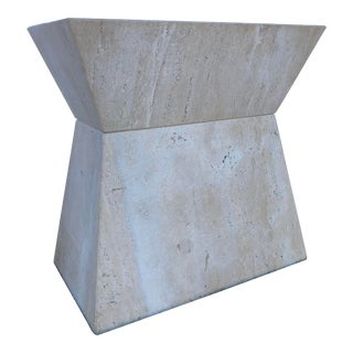 1980s Vintage Brutalist Travertine Table Pedestal For Sale