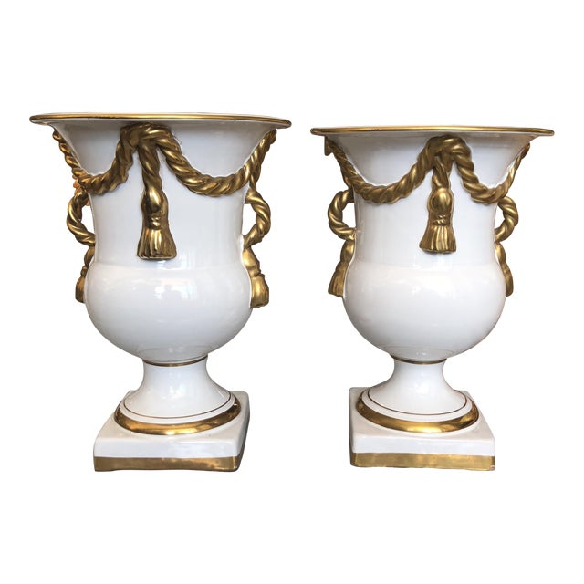 Italian Tassel Urn Vases - a Pair For Sale