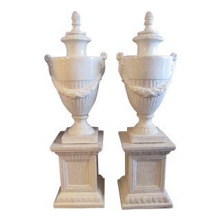 Terra Cotta Urns on Large Base in White Glaze - a Pair For Sale