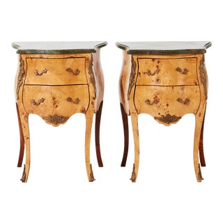 1900s Rococo Bedside Tables With Marble Tops - a Pair