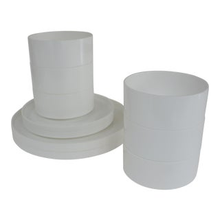1960s Massimo Vignelli Architect's White Compact Stacking Dinnerware - Set of 10 For Sale