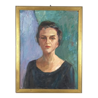 1960s Mid-Century Portrait of a Woman Oil Painting on Canvas