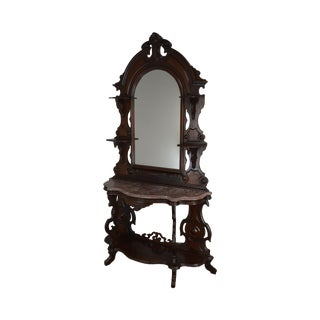 Antique Victorian Walnut Marble Top Console With Mirror For Sale