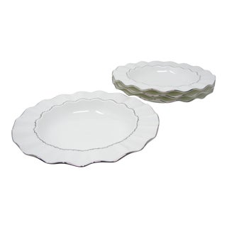 Mikasa Platinum Ring Rimmed Bowls With Platinum Detail and Ruffle Edge - Set of 4 For Sale