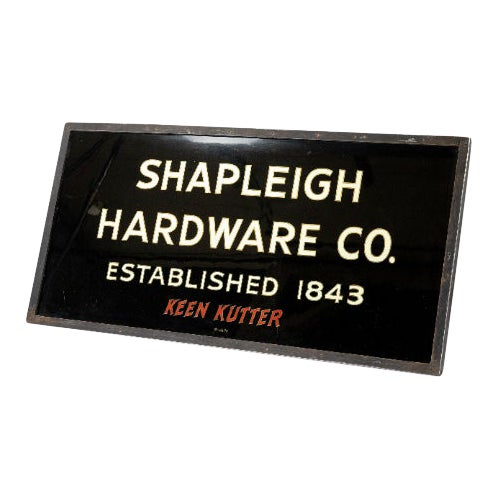 1900 Vintage Turn of the Century Gilded Reverse Painted Glass Trade Sign by Shapleigh Hardware Company For Sale