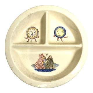 Vintage Ceramic Child Plate Mid-Century Cream Color With Three Compartments For Sale