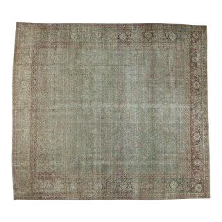 "Vintage Distressed Tabriz Square Carpet - 10'1"" X 11'1"" For Sale"
