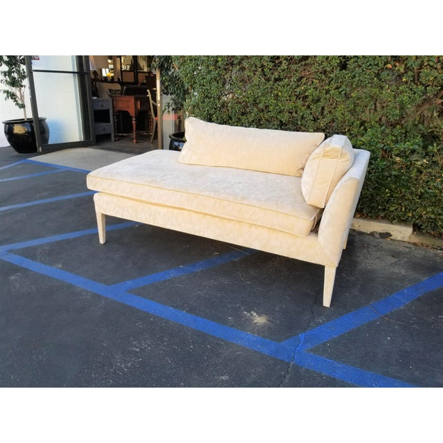 This is a custom upholstered chaise with down and foam filling. The cream velvet is textured yet soft, giving off that bi-...
