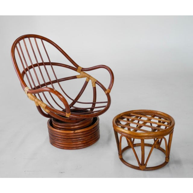 Mid-Century Swivel Rattan Bamboo Pod Chair & Ottoman - Image 3 of 6