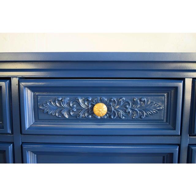 Permacraft Nine Drawer Navy Blue Dresser With Carved Front For Sale - Image 10 of 13
