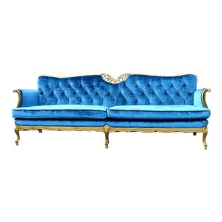 Hollywood Regency Gold and Blue Velvet Couch For Sale