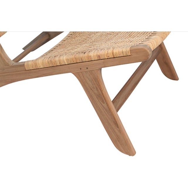 2020s Natural Teak & Wicker Easy Chair For Sale - Image 5 of 6