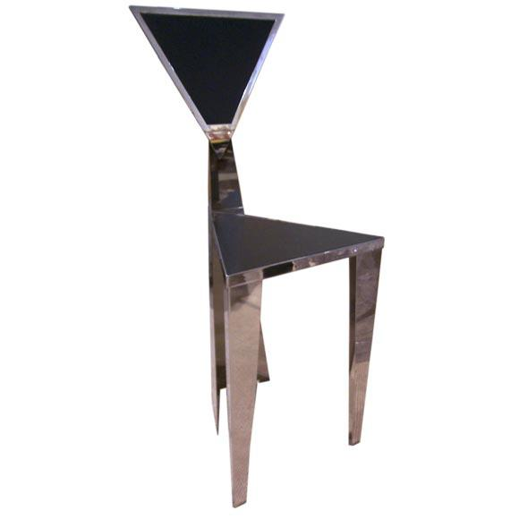 1970s Chic Stainless Steel Triangle Geometric Chair For Sale In New York - Image 6 of 6