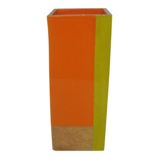 Rosenthal Netter Italian Ceramic Square Vase Bitossi Color Block For Sale