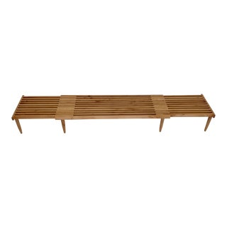 Expanding Slat Bench in Bleached Wood For Sale