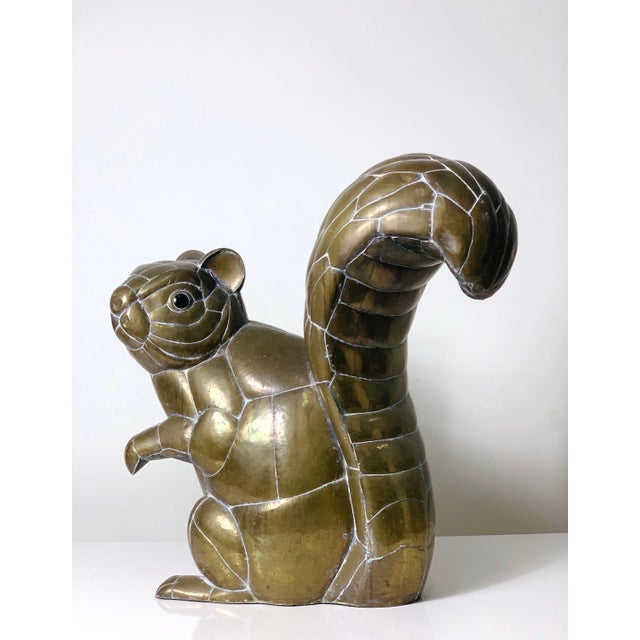 Boho Chic Large Signed Sergio Bustamante Brass Squirrel Sculpture, 1970's For Sale - Image 3 of 10