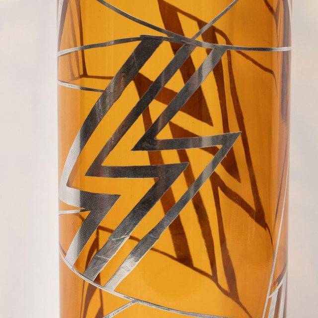 Art Deco Art Deco Brown Topaz Glass Vase With Geometric Cubist Sterling Silver Overlays For Sale - Image 3 of 6