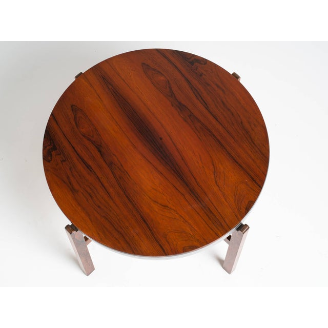 Modern Norwegian Rosewood Side Table With Metal Trim For Sale - Image 3 of 9