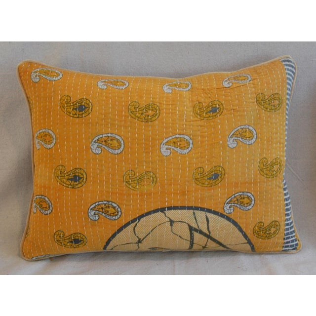 "24"" X 18"" Custom Boho-Chic India Kantha Textile Feather/Down Pillows - Pair - Image 4 of 10"