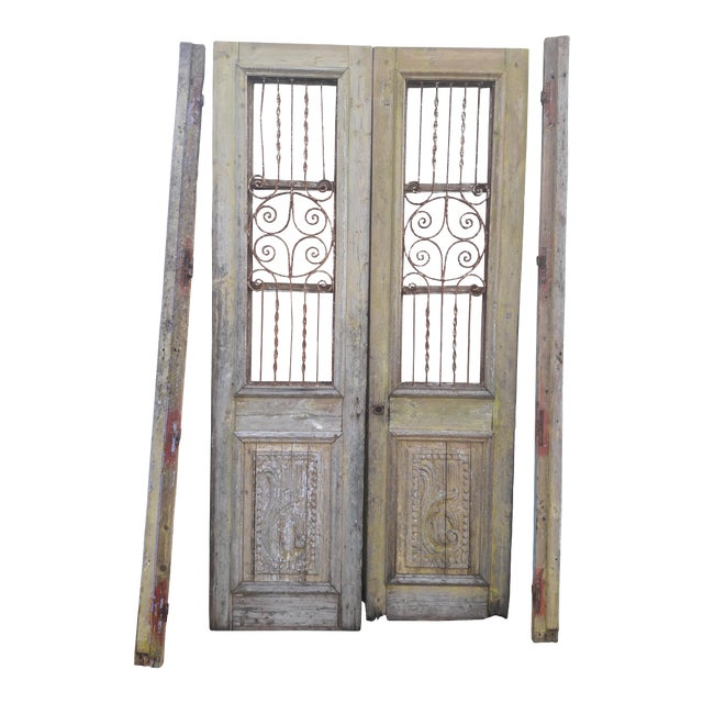 Antique French Iron Grill Door Rustic Farmhouse Natural Doors - a Pair For Sale